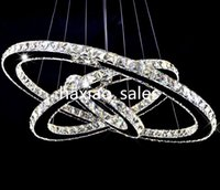 Wholesale Crystal Ring Ceiling Lights - Modern LED Crystal Chandeliers Pendant Lights Ceiling Hanging Lighting Fixtures with AC110-240V LED SMD Round Ring Diamond CE FCC ROHS