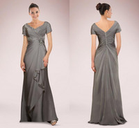 Wholesale champagne grooms wear resale online - 2019 Mother of the Bride Groom Dresses with Short Sleeves Chiffon Beads Pleats Grey Silver Formal Wear Evening Party Prom Gowns Custom Made