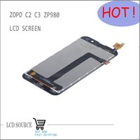 Wholesale Original Zopo Screen C2 - Wholesale-White Original For Zopo C2 C3 ZP980 MTK6589 6589T Full LCD Display Screen+Touch Digitizer Screen Assembly+Free Tracking NO.