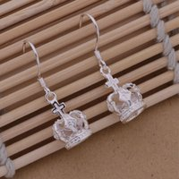 Wholesale Crown Charm Price - Fashion (Jewelry Manufacturer)925 Sterling Silver fashion jewelry Imperial crown earring jewelry silver jewelry factory price Fashion