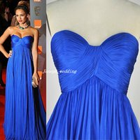 Wholesale Jessica Alba Red Carpet - Free Shipping Jessica Alba Street Style Royal Blue Chiffon Pleated Sweetheart Long Formal Evening 2017 Women Dress Red Carpet Gown WL360
