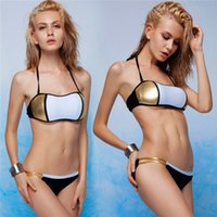 Wholesale Tri Bikini - 2015 tri-color stitching chest wrapped sexy split bikini swimsuit one from sell