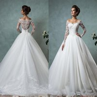 Wholesale Winter Wedding Gowns Sleeves - Amelia Sposa 2016 Cheap Lace Wedding Dresses Long Sleeve Fall Winter Bridal Gowns Plus Size Sexy Vintage V Neck Arabic Sheer Tulle Dress