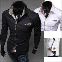 Wholesale Stylish Korean Fashion Mens - Fashion Korean Mens Slim Fit Stylish Casual Leopard Shirts Long Sleeve Dress Shirts US XS-L Blacks White Free Shipping