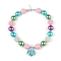 Wholesale Christmas Necklaces For Girls - 2016 Newest Spring Baby Girls diamond Chunky Necklace Pastel Gumball Beaded Easter Necklace For Girls Best Christmas girls Gift