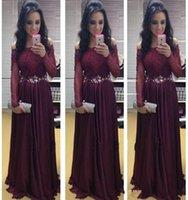 Wholesale Long Bateau Prom Dress - 2015 New Arrival Elegant Evening Gowns A-line Bateau Beading Crystals Sash Long Sleeves Floor Length Prom Dresses Vestidos ZLH