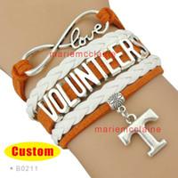 Wholesale Infinity Bracelet Orange - Wholesale-(10 Pieces Lot) Infinity Love NCAA Tennessee Volunteers Sports Team Bracelet Orange White Custom Sports Bracelet Drop Shipping