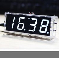 Wholesale Projector Kits - WHITE LED DIY digital clock kit with a shell with voice 51 single-chip 1-inch LED digital tube electronic clock practice hobby teaching