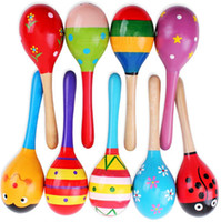 Wholesale Wholesale Mini Wooden Instruments - baby Wooden Toy cute Rattle toys Mini Baby Sand Hammer baby toys musical instruments Educational Toys Mixed colours