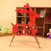 Wholesale Diy Wooden Tree - Wholesale-25x20.5cm DIY Wooden Christmas Red Reindeer with Tree Snowman Bell Ornaments Christmas Gifts and Decorations