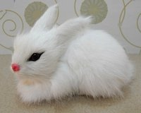 Wholesale white Mini bunny toy for kids home rabbit decor Easter bunny realistic looking furry bunny decor lying post Easter favors