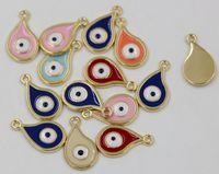 Wholesale Evil Eye Diy - Hot ! 100pcs Fashion 18k gold plated Teardrop Turkey Evil Eye Charm Pendants DIY Jewelry 11 X19 mm