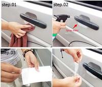 araba etiketleri mazda toptan satış-Araba tasarım Araba Kapı Kolu Scratch Koruyucu Film Koruyucu Sticker Vinil Tüm Arabalar Cruze Opel Fort Mazda Peugeot için