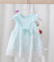 Wholesale Dress Girl Yarn Bowknot - 2016 summer wear new infant tutu dress princess style net yarn flowers embroidery baby dress bowknot fly sleeve little girls costume ab2071