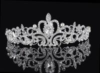 diademas de pelo moldeado al por mayor-Brillante cristales moldeados coronas de la boda 2016 nupcial Crystal Veil Tiara corona diadema accesorios para el cabello fiesta boda tiara