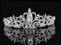 Wholesale red fairy hair online - Shining Beaded Crystals Wedding Crowns Bridal Crystal Veil Tiara Crown Headband Hair Accessories Party Wedding Tiara