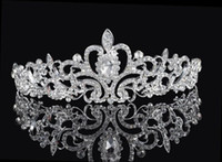 boncuklu saç tiaraları toptan satış-Shining Boncuklu Kristaller Düğün Taçlar 2016 Gelin Kristal Peçe Tiara Taç Kafa Saç Aksesuarları Parti Düğün Tiara