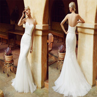 Wholesale Enzoani Beautiful Wedding Dresses - Beautiful Enzoani Mermaid Wedding Dresses With Applique Sweetheart Neckline Satin Tulle Bridal Gowns Full Length Backless Wedding Dress