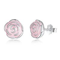 Wholesale Enamel Flower Stud - Elegant Pandora Style Roses Silver Stud Earrings with Pink Enamel Genuine 925 Sterling Silver Flower Earrings for Women ER001