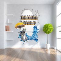 Wholesale Umbrella Posters - New Creative Cracked Refrigerator Wall Stickers Bear under the Umbrella Wall Decorative Murals Waterproof and Removable Wallpaper Posters