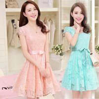 Wholesale Noble Cozy Summer Dress - 2016 New Hot Summer Style Fashion Cozy Women Clothes Noble Short Sleeve Lace Dress Korean Fashion Sweet Solid Dresses
