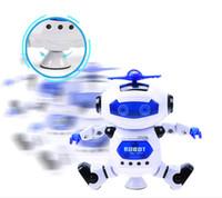 drehbare lichter großhandel-Elektrische roboter kinder spielzeug space dance elektrischer roboter 360 grad licht musik spielzeug