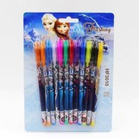 Wholesale Gifts Princess Pen Kids - Frozen Gel Pens Shining Glitter Princess Elsa Anna Children Kids Students Writing Stationery Set Multi Color Pen School Gifts 1200pcs