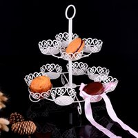 Wholesale Iron Out Wholesale - Creative Iron Cupcake Stands Stoving Varnish Desserts Display Holder Hollowed Out Design Two Layers Cake Racks Practical 26dw B