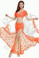 Wholesale Mesh Skirt Set - New arrive fashion sexy belly dance dress good quality professional belly dance costume set women bollywood tribal bellydance skirt clothing