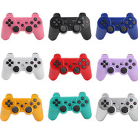 Wholesale New Shock Joystick - 2015 New Wireless Bluetooth Controller For PS3 SixAxis Joystick Joysticks In Blue Retail Packaging With Retail Box
