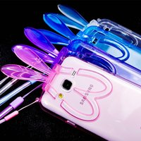 Wholesale Super Cute Rabbit - Super Cute Foldable Rabbit Ears Protection Case Soft TPU Transparent rabbit ear stand Case With Lanyard For Iphone 5 6 6s Plus Samsung S4 S6