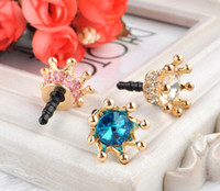 Wholesale Plug For Phone Crown - Dust Plug Crown Cover Headset Baroque Golden Phone Accessories Dust-proof Earphone Crystal Anti Ear Cap for iPhone 6 5 5S 4 4S Samsung HTC