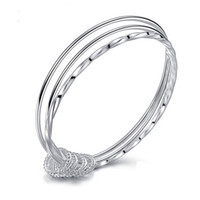 Wholesale wholesale sterling silver jewellery - Fashion Bracelets for Women Three Circles 925 Sterling Silver Charm Bracelet Silver Plated Cuff Bangles Jewellery