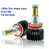 Wholesale Angle Eyes Bmw - E92 128W Angle eyes led 16 bulb cree H8 For BMW series 3 5 7 X5 E70 X6 E71 E90 E91 E92 M3 E60 E93 E84 E89 E60 E82