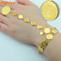 Anniyo Wholesale Coin Bracelet for Women, Cadeia Árabe Gift Oriente Médio, Gold Color Coins Jóias Middle Eastern Wedding # 048006