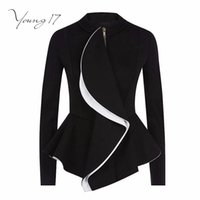 All'ingrosso-Young17 Donne Ruffles Coat Autunno Peplum corto Capispalla sottile Gothic Black Zipper Jacket Moda donna Cappotti Goth Suit