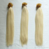 Wholesale nano rings hair resale online - GradLength Grade A Nano Rings Human Hair Extensions g pack g s s Blonde color I tip in Hair free DHL