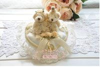 Wholesale Cheap Wedding Ring Pillows - 2015 Taddy Bear Fashion Cheap Wedding Ring Pillow Wedding Favor Silk lace Decorations Special Unique Ring Pillow free Shipping
