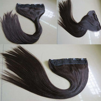 Wholesale Wide Hair Extensions - 24''100-160grams 100% Indian Remy Hair Clips In Weft Hair Extensions with Lace,25cm Wide Silky Straight Five Clips In One Piece Hair Weaving