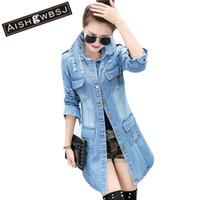 Wholesale Jean Hooded Jacket Women - Wholesale- AISHGWBSJ Plus Size Women Denim Slim Coat Jean Jackets Casual Women Long Coat Single Breasted Overcoats YX8883