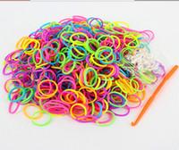 gummibänder für webmaschinen großhandel-Bunte DIY Bänder Rubber Jelly Intelligence Spielzeug Webstuhl Gummibänder eine Packung mit 600 Stück + 24 S Clips