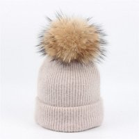 Wholesale Raccoon Hair - High Quality Kids rabbit hair knit hat baby raccoon fur ball solid color curling head cap hat warm ear protection winter hats