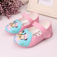 Wholesale Leather Shoes Wholesalers China - Wholesale-minnie mouse baby shoes toddler girls first walkers quality PU printed leather shoes pink red rubber sole China shoes