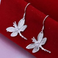 Atacado-Por Atacado Moda 925 Sterling Silver Inseto Inlaid Dragonfly Forma Gancho Brincos Dangle Ear Earrings Jóias Pingente E009