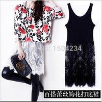 Wholesale Korean Wear Spring - Fashion Korean 2015 Spring White Black Lace Vest Dress Causal Joker Dress Plus Size M L Tank Dresses Cheap Worth China Cloth