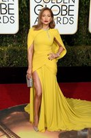 vestidos de fiesta amarillo dorado al por mayor-The 73rd Golden Globe Awards Celebrity Dresses 2018 Yellow Mermaid Side Side Vestidos de noche Chal con cuello alto Alfombra roja Vestido formal Nuevo