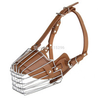 Wholesale Breeding Cages - High Quality Leather Steel Dog Muzzle Cage for dog safe training
