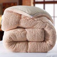 Wholesale Thick Comforters - Wholesale- Winter qulit 200*230cm 3.5kgs blanket camel Fleece comforter doona edredon thick blanket duvet colcha comoforter bedspread