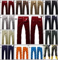 ingrosso jeans pants dhl-Trasporto libero del DHL all'ingrosso U. uomini famosi di marca pantaloni dei jeans Pantaloni Denim uomini diritti del progettista pantaloni casuale Camo Jeans dell'esercito taglia 30--40