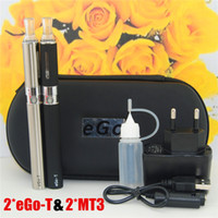 Wholesale Double Pack E Cig - 15pcs E-Cigarette EGO MT3 Starter kit E-cig Kits EGO-T kit Double cigarettes Zipper Case Pack Various Colors 650 900 1100mah ego kits DHL